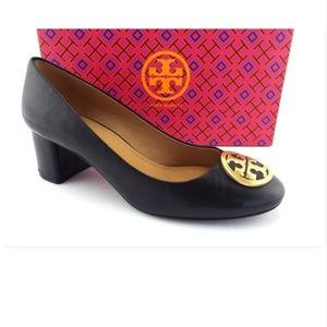 Tory Burch Black Leather Logo Block Heel Pumps 8.5